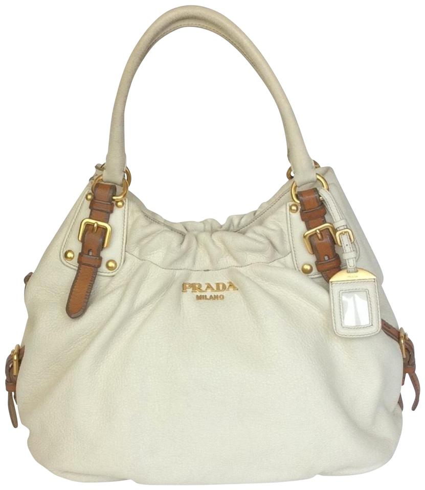 87c2552427 Prada Large White Deerskin Leather Shoulder Bag - Tradesy