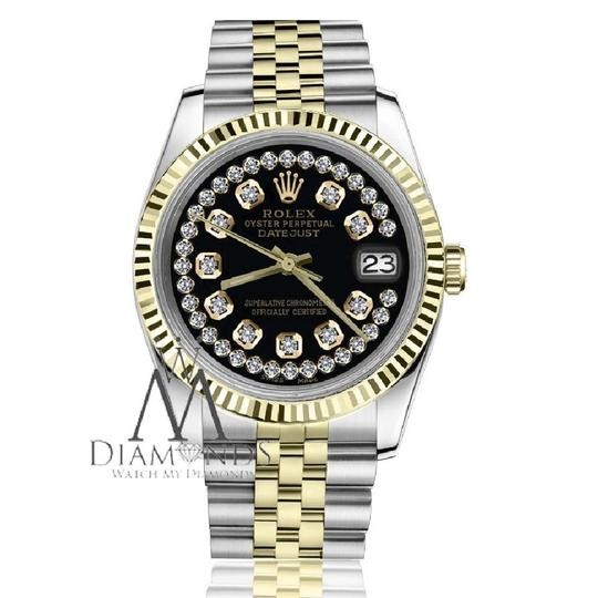Rolex Women's 26mm Datejust2Tone Glossy Black String Diamond Accent Dial