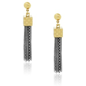 Louis Vuitton Louis Vuitton Two Tone Damier Charlie Tassle Earrings - item med img