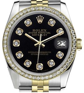 Rolex Womens 26mm Datejust Tone Black Color Dial With Diamonds Watch