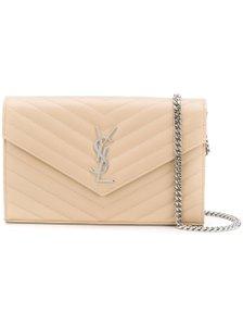 Saint Laurent Poudre Chain Wallet Monogramme Nude Cross Body Bag