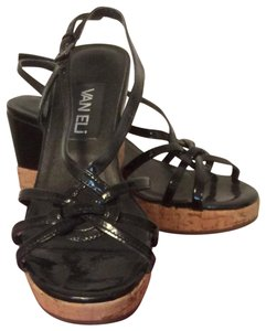 Vaneli Sandal W/ Cork Wedge Black Patent Platforms