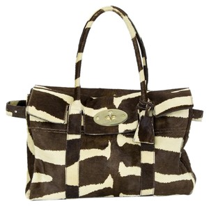 Mulberry Pony Hair Tote in Brown / Cream