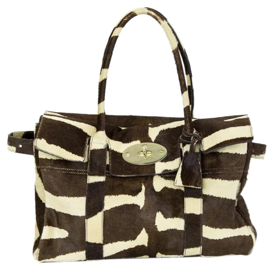 3ff0873697f4 Mulberry Bayswater Brown   Cream Calf Hair Tote - Tradesy
