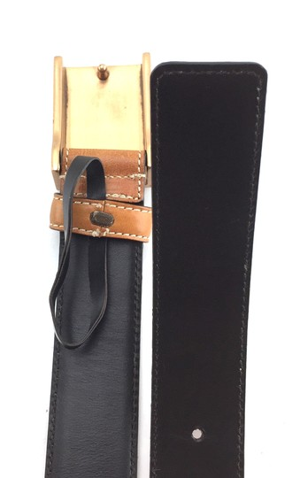 Gucci logo spelled out buckle leather and canvas belt