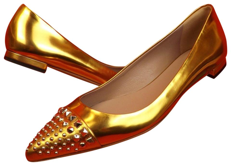 29c67b4aba6 Gucci Gold Metallic Leather Studded Pointed Toe Coline   370806 7 ...