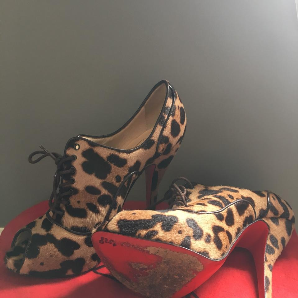 6549197763e Christian Louboutin Lady Derby 120 Leopard Lace Up Boots/Booties Size EU  37.5 (Approx. US 7.5) Regular (M, B)
