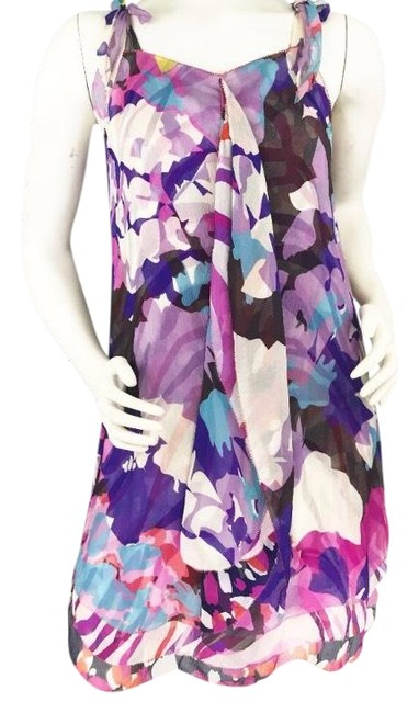 Item - Multicolor Dvf Floral Silk Short Cocktail Dress Size 2 (XS)