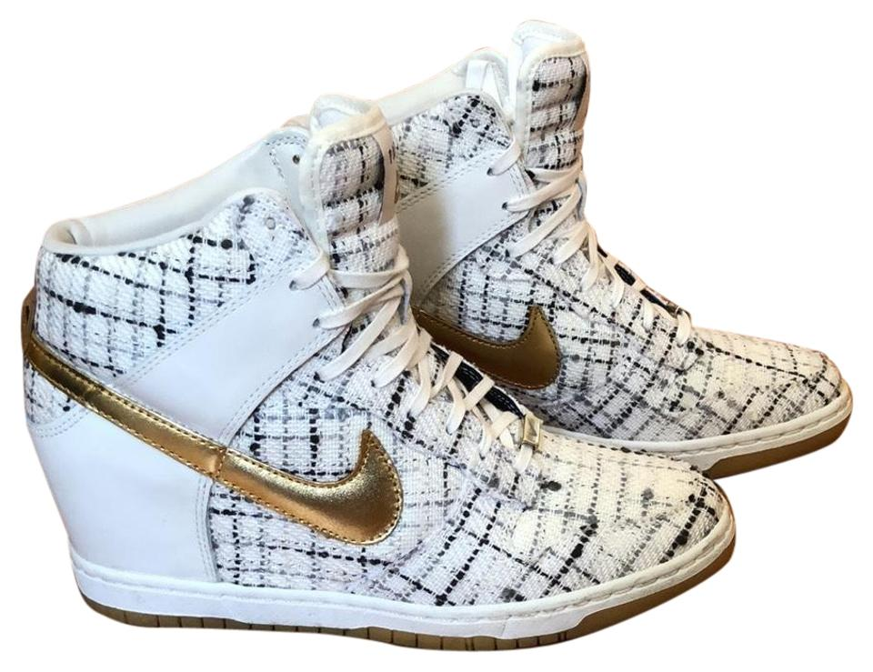 hot sale online bc58a 2afc5 Nike Sail and Metallic Gold Limited Edition Sky Hi Paris Dunks Sneakers