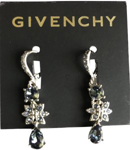 Givenchy Silver-Tone blue marine Swarovski Element Drop Earrings