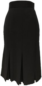 Harvé Benard Pleated Pencil Pleated Pencil Size 6 Wool Blend Skirt Black
