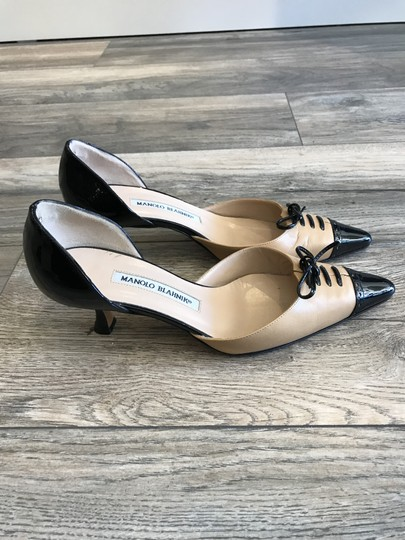Manolo Blahnik Cream and Black Pumps