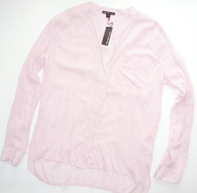 James Perse Collarless Button Front High Low Button Down Shirt Rosewater