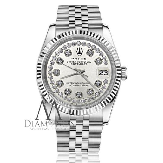 Rolex Women`s Rolex 26mm Datejust Silver String Diamond Accent Dial Watch