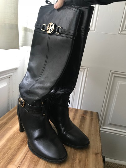 Tory Burch Leather High Chunk Heel Black Boots