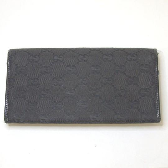 Gucci Long GUCCI GG Logo Bamboo Bifold Wallet Purse Canvas Leather Italy