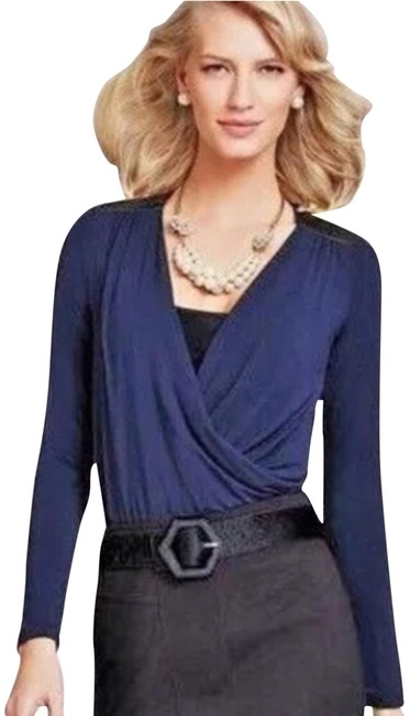 Preload https://img-static.tradesy.com/item/23212285/cabi-navy-faux-leather-shoulder-long-sleeve-faux-wrap-blouse-size-12-l-0-1-650-650.jpg