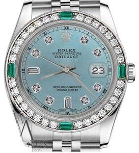Rolex Rolex 36mm Datejust Ice Blue Color Dial Emerald Diamond Watch