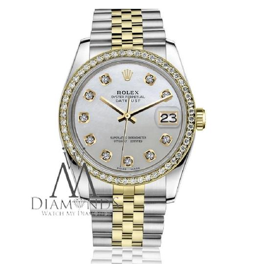 Rolex Ladies 31mm Datejust 2 Tone White MOP Mother Of Pearl Dial Diamond