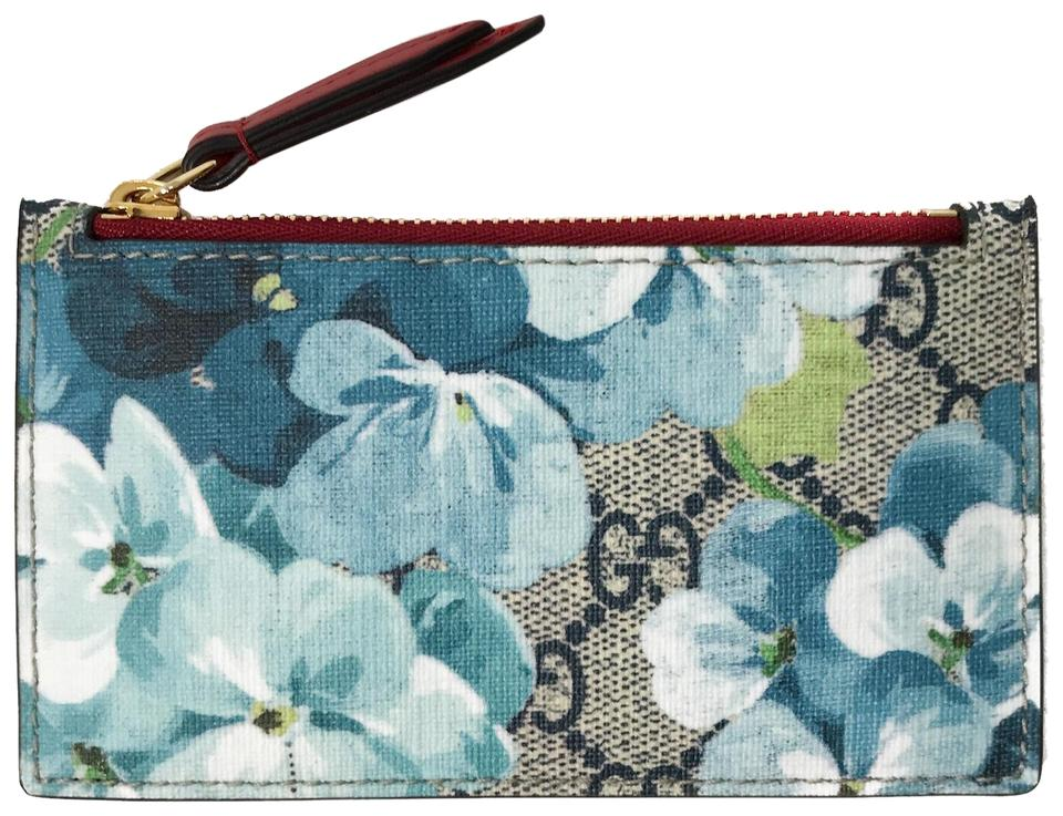 4a0503149b87 Gucci GUCCI 430275 GG Supreme Blooms Key Zip Card Case Wallet, Multi Image  0 ...