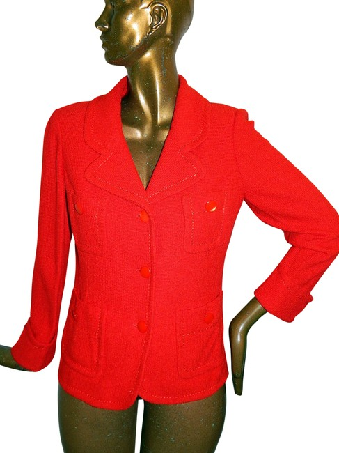 Item - Red Chunky Knit Jacket Usa Blazer Size 12 (L)