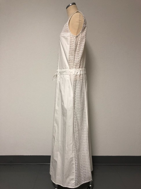 White Maxi Dress by DKNY Eyelet Zip Closure Drawstring