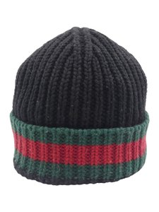 Gucci Gucci Black Charui Striped Wool Sz. Medium Hat