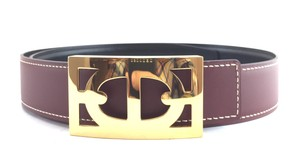 Hermès Rare Boxed Chaine d'Ancre H Gold Reversible Belt leather Size 75