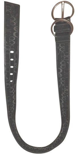 Preload https://img-static.tradesy.com/item/23212605/coach-black-and-gray-and-leather-and-monogram-jacquard-silver-tone-buckle-belt-0-1-540-540.jpg