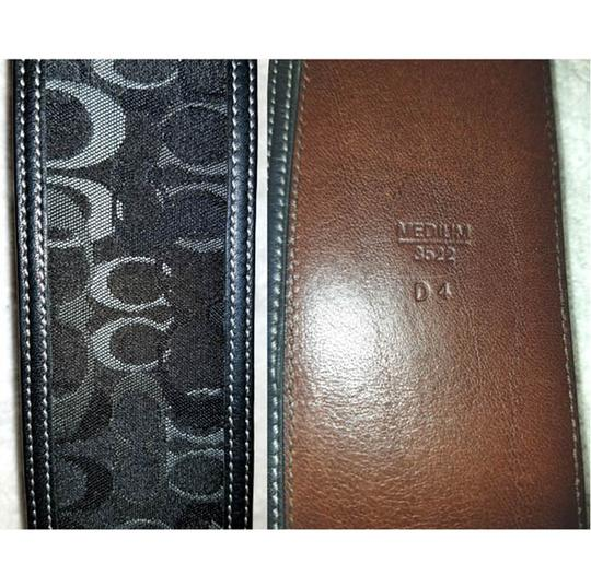 Coach Black and gray leather and monogram jacquard belt silver tone buckle
