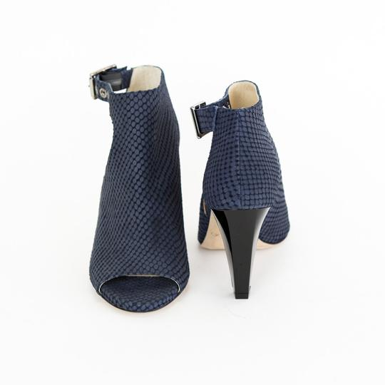 Jimmy Choo Embossed Suede Acrylic Heels Cut-out Navy Blue Boots