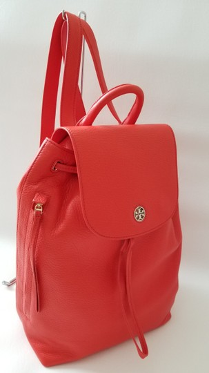 Tory Burch Pebbled Leather Leather Laptop Large Backpack