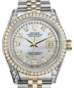 Rolex Stainless Steel-gold 36Mm Datejust Watch White Mop String Diamond Dial