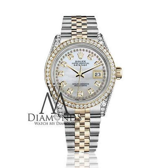 Rolex Stainless Steel-gold 36Mm Datejust Watch White Mop String Diamond Dial Image 1