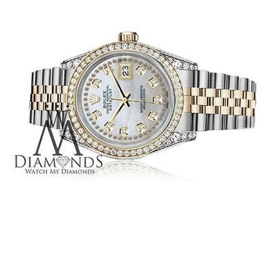 Rolex Stainless Steel-gold 36Mm Datejust Watch White Mop String Diamond Dial Image 4
