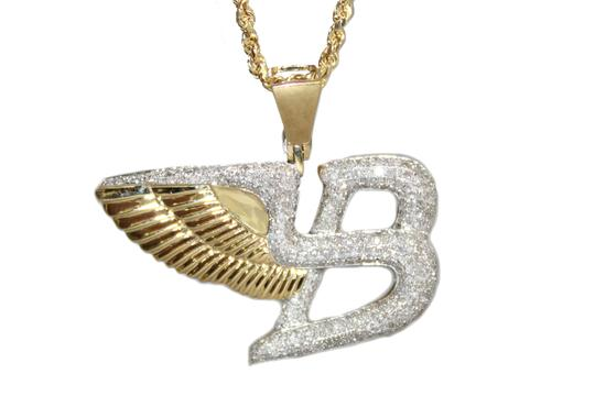 Other 10K Yellow Gold Rope Chain with Diamond Bentley Flying Pendant Charm