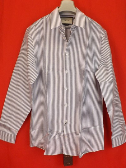 Preload https://img-static.tradesy.com/item/23212865/gucci-white-blue-nile-oxford-striped-cotton-linen-button-dress-16-41-406828-shirt-0-0-540-540.jpg