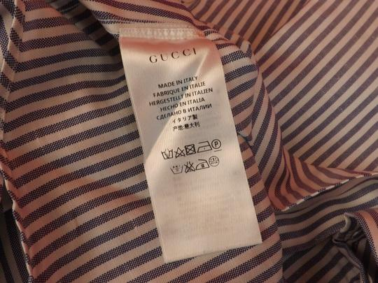 Gucci White / Blue Nile Oxford Striped Cotton Linen Button Dress 16 41 #406828 Shirt