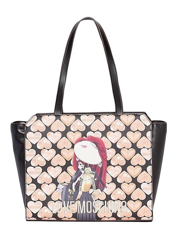 Bag Tote Shoulder Black Moschino Pink Print Digital Polyurethane Heart qHn7At8