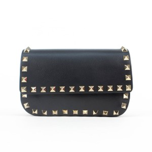 Valentino Leather Rockstud Fanny Pack Small Removable Strap Black Travel Bag