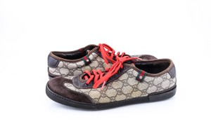 Gucci * Brown/Red/Green W Gg Plus Lace-up Trainer W/Web Detail Sneakers Shoes