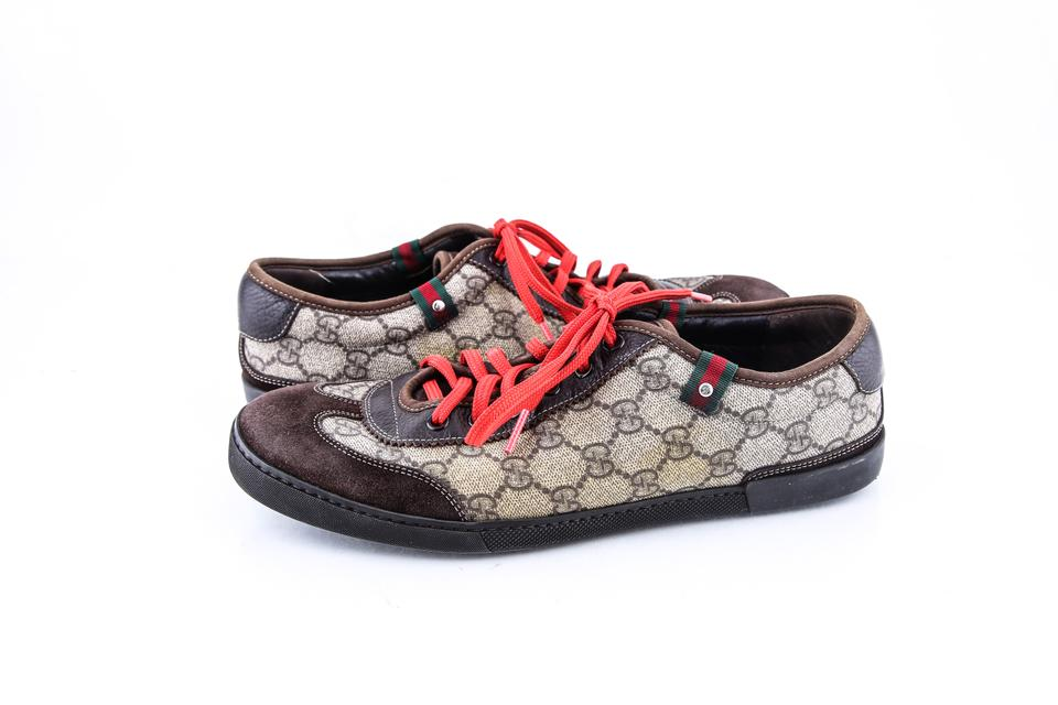 1fc0da9a5b1 Gucci   Brown Red Green Gg Plus Lace-up Trainer W Web Detail ...