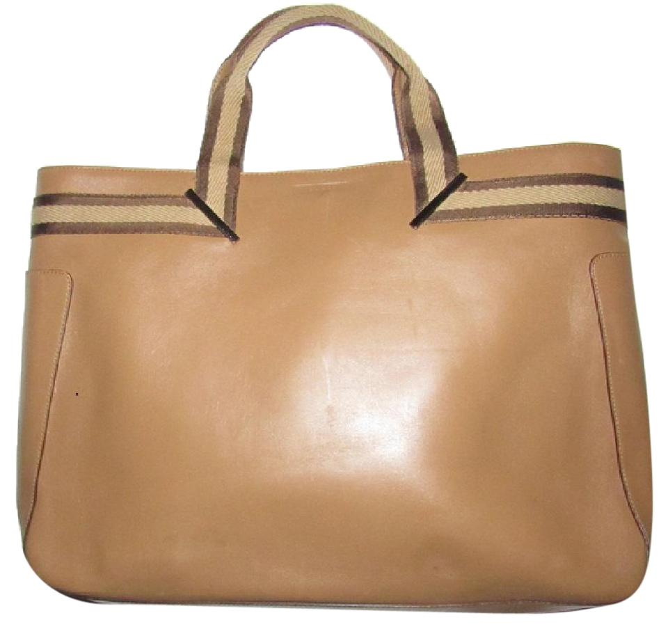 665dba06a861 Gucci Chrome Hardware Excellent Vintage Xl Or Satchel Laptop Document Tote  in tan leather with ...