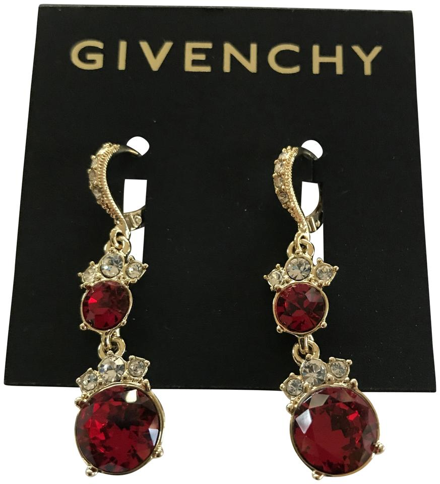 Red Givenchy Chandelier Earrings: Givenchy Gold Swarovski Red Crystal Gold-tone Double Drop