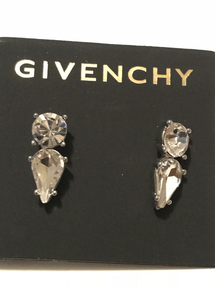 Givenchy Silver Stunning Swarovski Element Crystal Stud Earrings