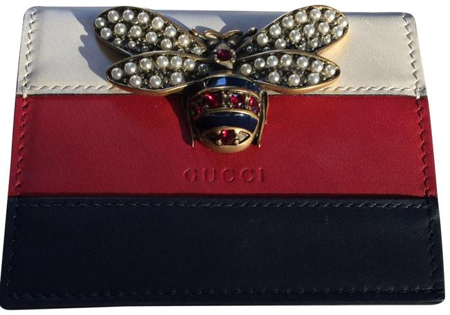 Item - Wallet Red/White/Blue Leather Wristlet