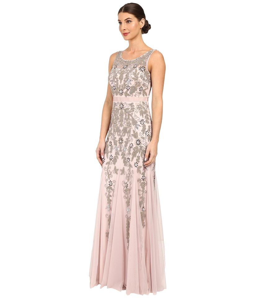 Adrianna Papell Icy Lilac Beaded Illusion Yoke Gown Long Formal ...