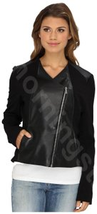 Calvin Klein Fitted Silhouette Asymmetrical Zip Collarless Neckline Structured Seaming Fully Lined Motorcycle Jacket