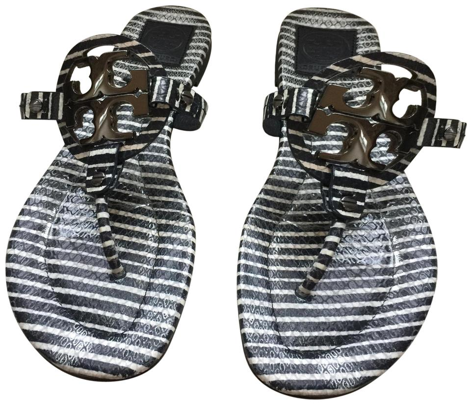 2be8070a0360f Tory Burch Stripe Navy and White Miller Sandals Size US 10 Regular ...