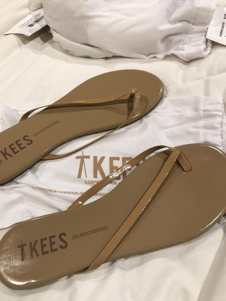 c523fa04ee2 TKEES Patent Nude Sunscreens Glosses Flip Flop Sandals Size US 10 ...
